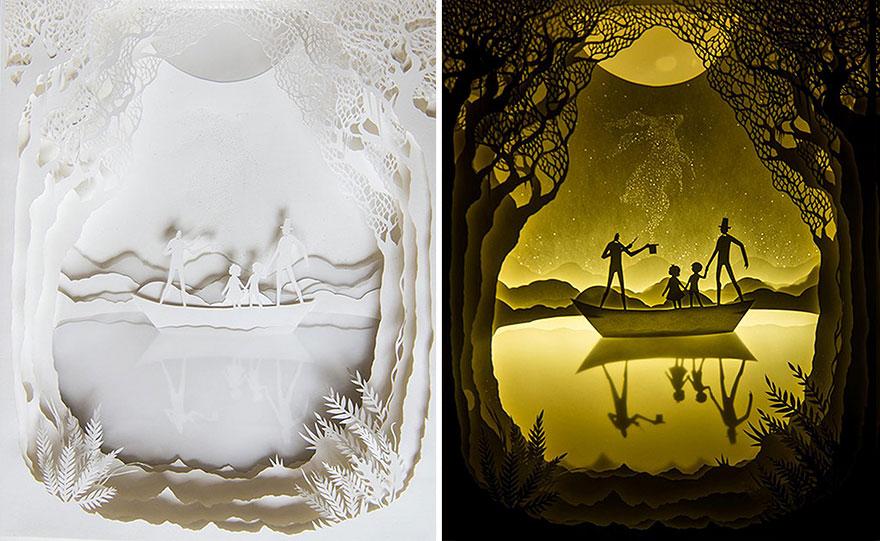 Backlit Paper Sculptures Shadow Art Hari Deepti 18