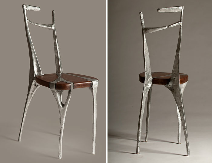 chair. I Make Unique Furniture By Pouring Cast Aluminum Onto Wood   Bored
