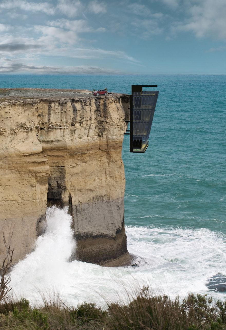 modern architecture hanging cliff house modscape concept