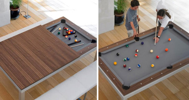 Of The Best SpaceSaving Design Ideas For Small Homes Bored Panda - Pool table in small space