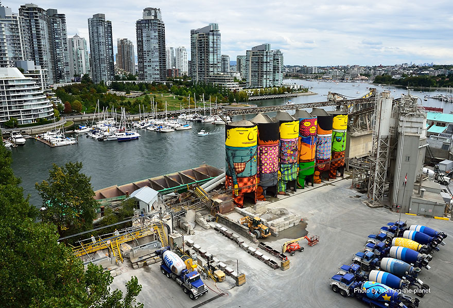 Twin brothers turn 70 ft silos in vancouver into colorful for Mural vancouver