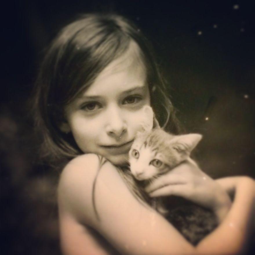 Augusta With Her Kitten.