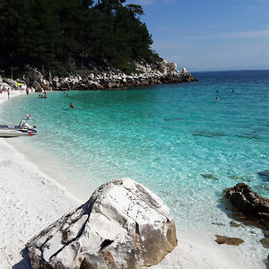 Marble Beach, Thassos Island Greece; The White Material At The Beach Is Crushed Marble Not Sand