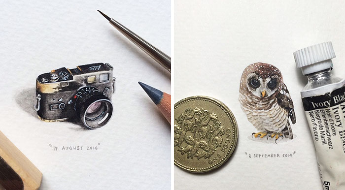 365 Postcards For Ants: Illustrator Creates One Mini Painting Per Day For A Year