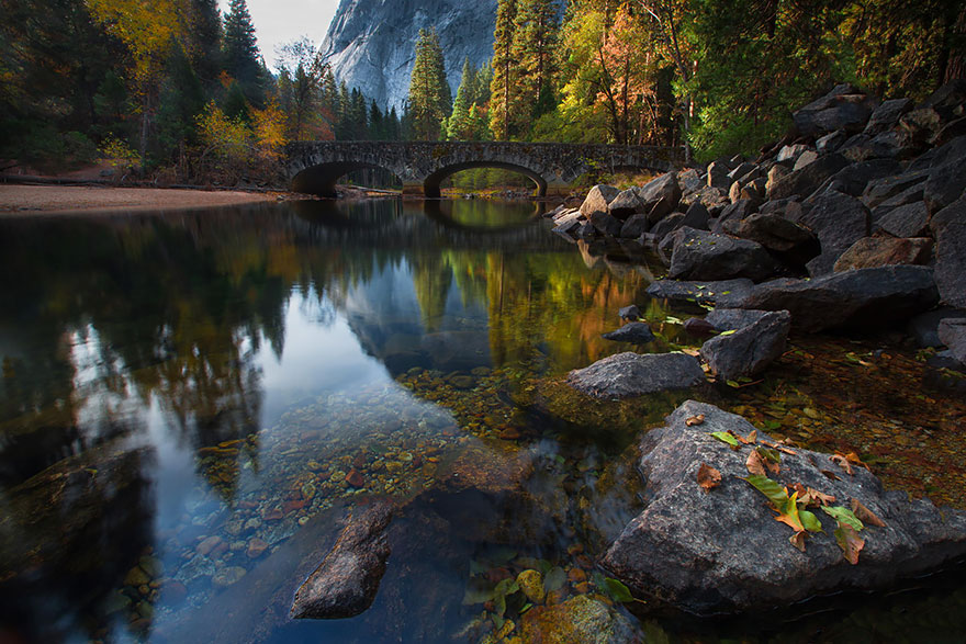 Bridge Across The Merced River, Yosemite, Usa