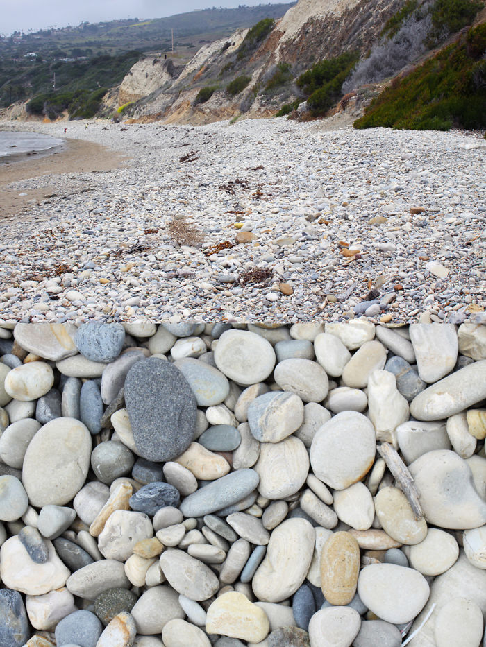 """Abalone Cove Beach Has """"stonewashed Denim"""" Cobbles - Beautiful To Look At, Terrible To Walk On"""