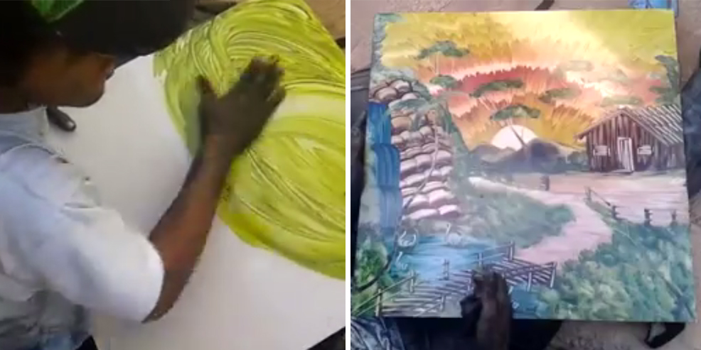 Guy On The Street Finger-Paints A Spectacular View In Just 9 Minutes