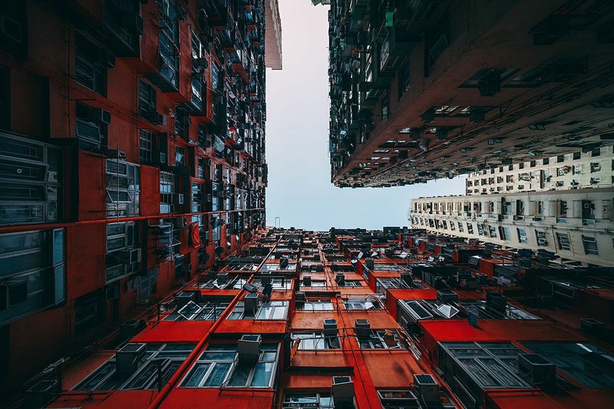 Architecture Photography Malaysia looking up in hong kong: the overwhelming symmetry of this