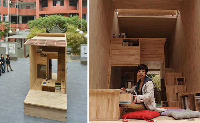 Chinese Students Build Wood House That Occupies Just… 7 Square Meters