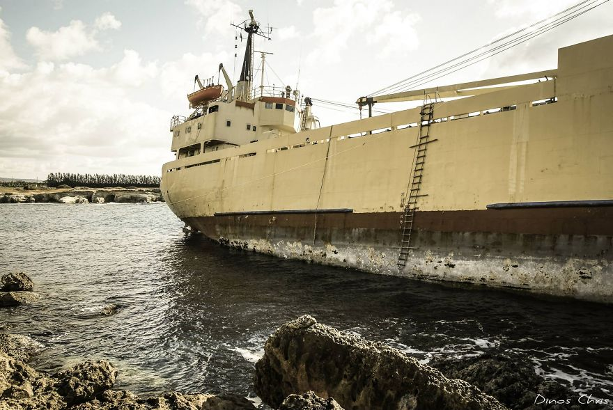 A Stranded Ship In Paphos, Cyprus