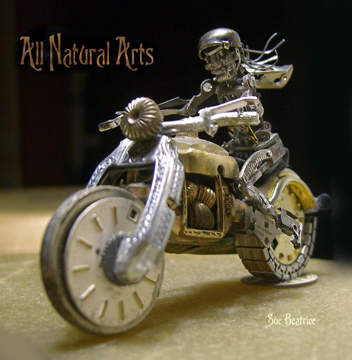 These Guys Made A Motorcycle And Rider Completely Out Of Vintage Watch Parts