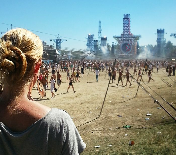 Girl Watching The Festival She Was Going To Enjoy. Decibel Festival, Netherlands.