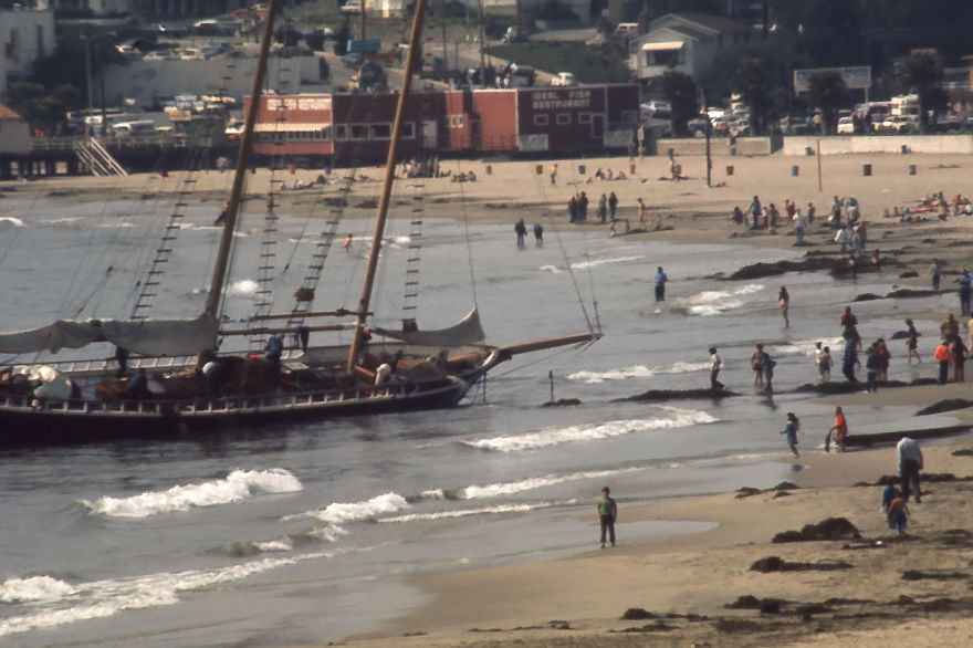 Yacht Shamrock Vi Blown Ashore In Santa Cruz, Ca 10/7/72
