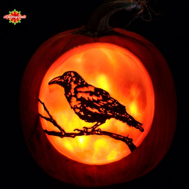 Harvest Moon With Perched Crow