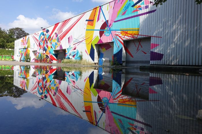 Beautiful Reflection Of A Colorful Building, France