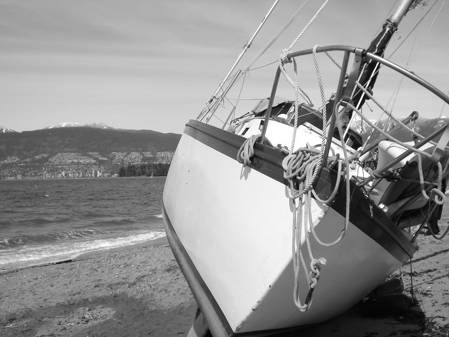 Shipwrecked Sailboat In Vancouver After Storm (april 2010)