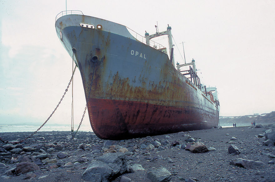 M.v. Opal Aground Saint John, N.b., Canada February 1981 Photo By Bob Boudreau
