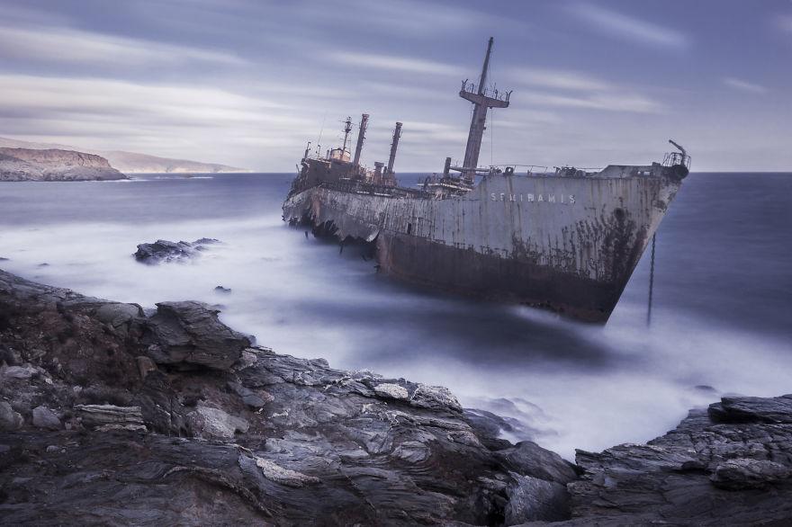 Semiramis, Wrecked Ship In Andros Island, Greece