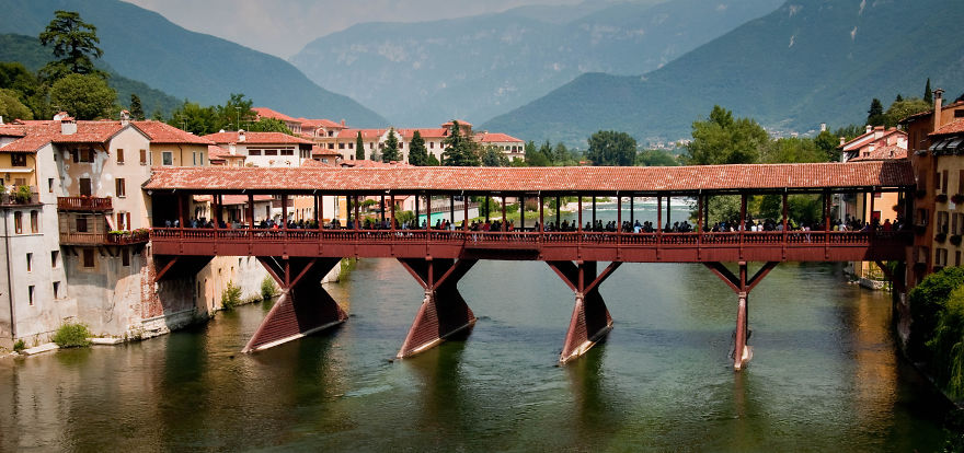 Bassano Del Grappa - Italy Wood Bridge Since 1209 Dc