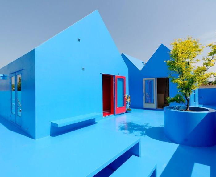 Blue House In Didden Village In Rotterdam