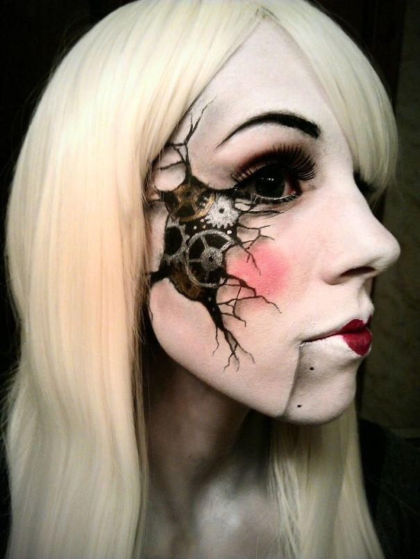 20+ Of The Creepiest Halloween Makeup Ideas Bored Panda - Make Up De Halloween
