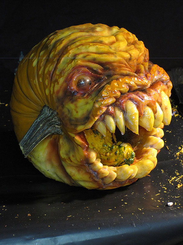 This guy makes the scariest pumpkin carvings ever bored for The coolest pumpkin carvings