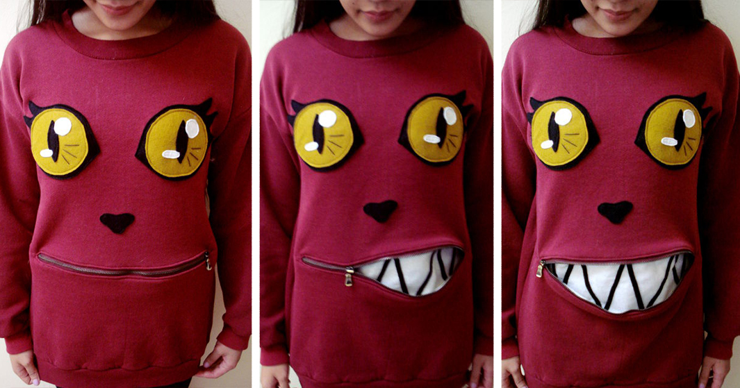 Awesome Zipper-Mouth Cat Sweater That You Can Actually Make