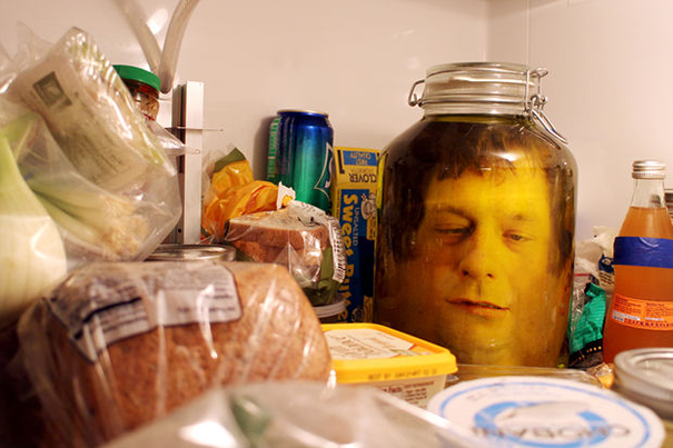 Cut-Out Paper Head In A Jar Decor