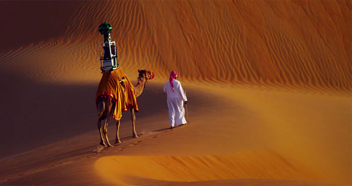 Google Uses A Camel To Capture Street Views In The Liwa Desert