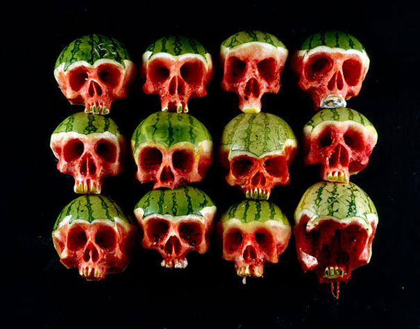 Carved Skull Watermelons