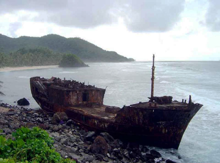 Abandoned Ship On The Coast Of American Samoa