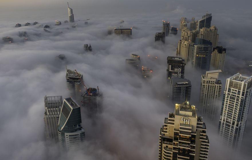 Dubai Marina In Mist