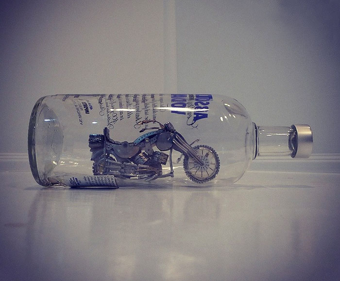 Absolut Steampunk: I Built A Motorcycle Out Of Watch Parts Inside A Bottle
