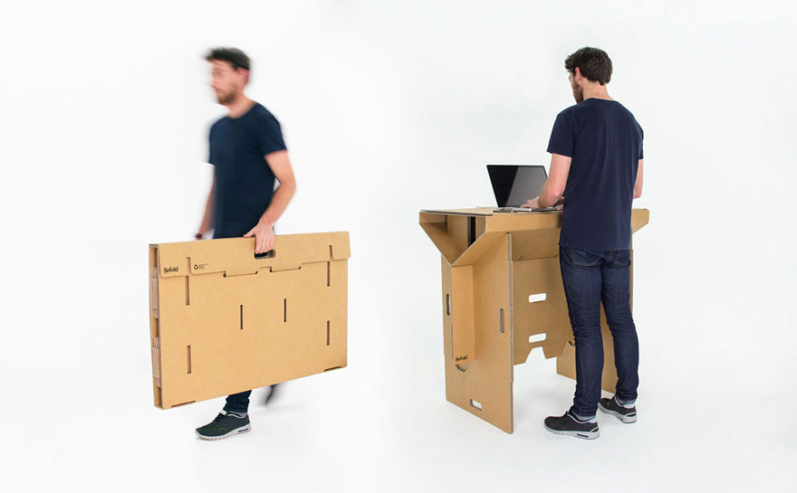 This Standing Cardboard Desk Is Portable, Recyclable, And Is ...