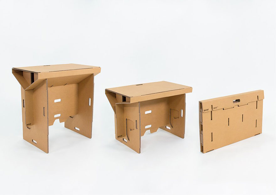 This Standing Cardboard Desk Is Portable Recyclable And