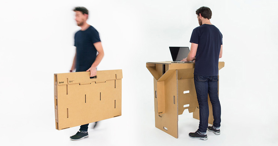 This Standing Cardboard Desk Is Portable, Recyclable, And Is Strong Enough To Hold An Adult