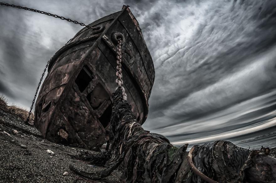 Vapor Amadeo, Aground In The Strait Of Magellan, Chilean Coast
