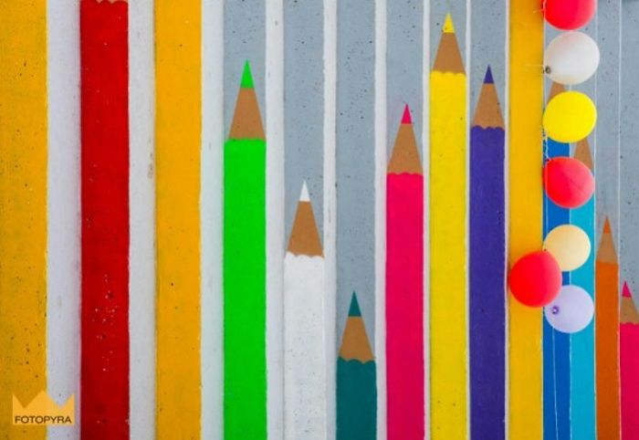 Crayon Stairs To Bank Of Warta River In Poznań, Poland