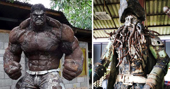 Stunning Scrap Metal Sculptures Of The Hulk And Other Famous Movie Characters