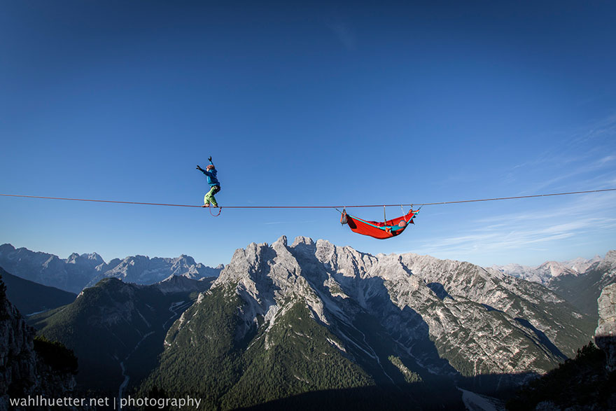 People At This Festival Slept On Hammocks Hanging Hundreds Of Feet Above The Italian Alps