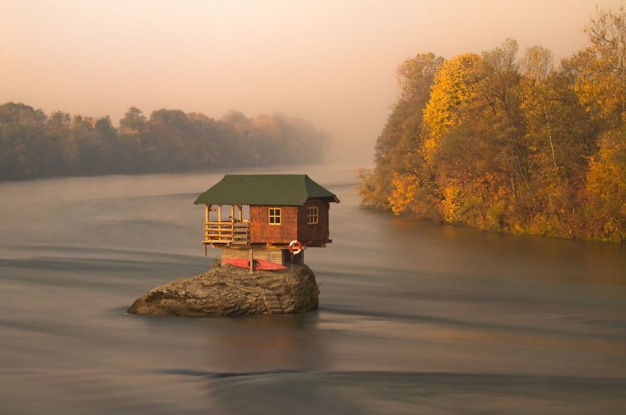 House In The Middle Of Drina River Near The Town Of Bajina Basta, Serbia