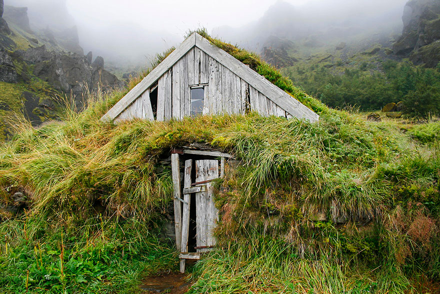 House Isolated With Grass, Iceland