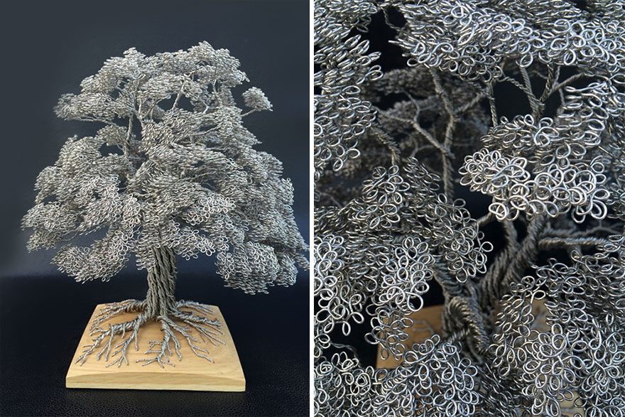 Artist Makes Intricate Tree Sculptures By Twisting Single Strands Of Wire