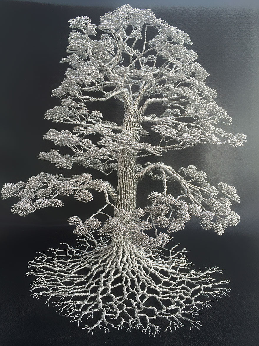 Artist Makes Intricate Tree Sculptures By Twisting Single Strands Of ...