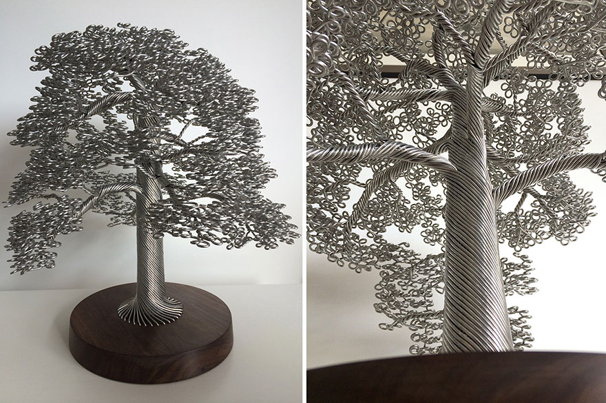 Artist Makes Intricate Tree Sculptures By Twisting Single Strands Of Wire Bored Panda