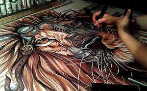 Steampunk Lion - Step By Step From A Blank Page To The Complete Drawing