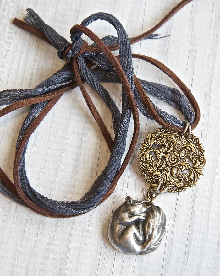 Sleeping Squirrel, Pewter And Bronze Pendant. Joannemay.etsy.com
