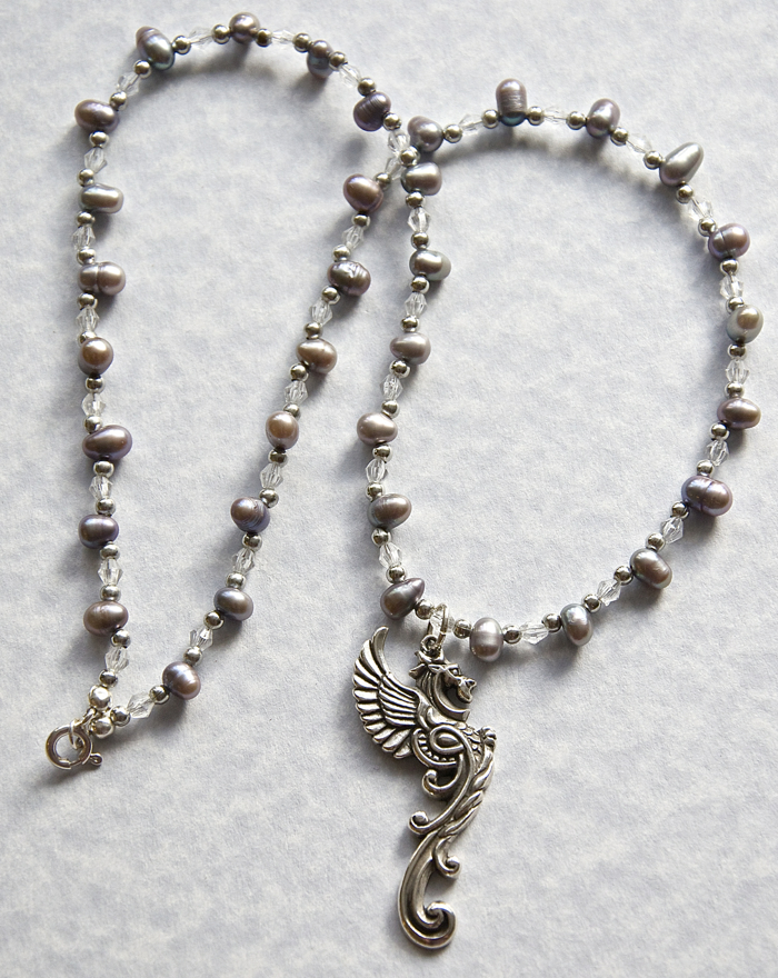 Dragon Necklace With Egg Pearl Beads By Ghost Lily Design. Joannemay.etsy.com