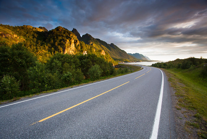 Scenic Road Through Lofoten, Norway