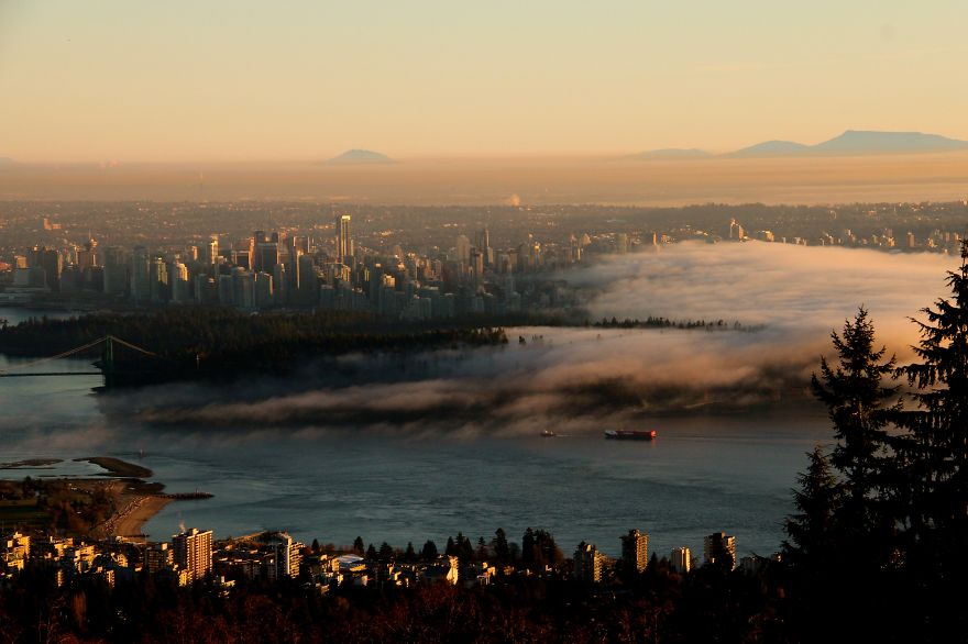 Winter Fog Creeping Over Vancouver, British Columbia (canada)